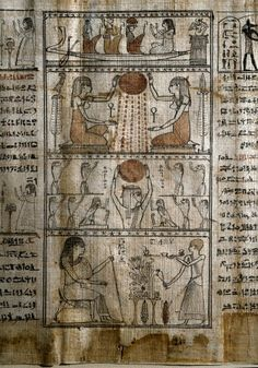 Ancient Egypt : the life-giving power of the sun. Papyrus from the Book of the Dead. Ptolemaic period. Egyptian Museum, Turin, Italy