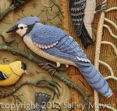 Salley Mavor: Birds of Beebe Woods (detail of blue jay), embroidery on felt