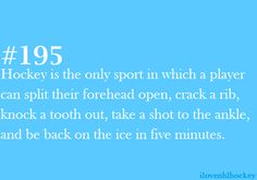 Hockey is the only sport in which a player can split their forehead open, crack a rib, knock out a tooth, take a shot to the ankle and be back on the ice in five minutes