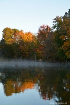 Fall foliage reflections and steam fog Lake Norman | ©homeiswheretheboatis.net #fall #lake