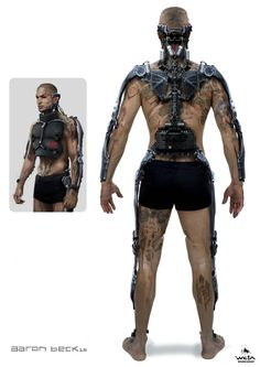 Elysium Concept Art of an Exosuit used to enhance physical performance. Researched purely for aesthetics Cyberpunk Character, Cyberpunk Art, Robot Concept Art, Armor Concept, Science Fiction, Exoskeleton Suit, Arte Dark Souls, Space Opera, Millenium