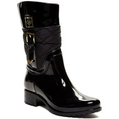 dav Coventry Mid Quilted Rain Boot ($50) ❤ liked on Polyvore featuring shoes, boots, black, knee-high boots, fleece lined rain boots, black knee high boots, knee high rain boots, black boots and waterproof boots