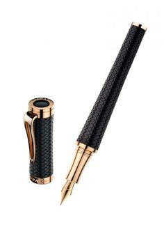 Chopard Classic Racing Fountain Pen in Black Rubber & Rose Gold-plated From US.Chopard.com