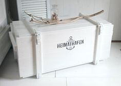 """Shoe cabinets – Beautiful wooden chest """"The Great – ANKER * – a unique product by … - Basket and Crate Ikea Basket, Wicker Baskets, Coastal Style, Coastal Decor, Wooden Chest, Diy Pallet Projects, Crate And Barrel, Home Accents"""