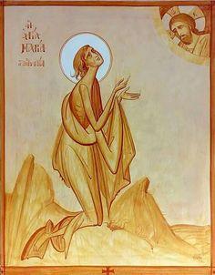 Mary of Egypt by George Kordis ~~~. Byzantine Icons, Byzantine Art, Religious Icons, Religious Art, St Mary Of Egypt, Orthodox Catholic, Biblical Art, Art Icon, Orthodox Icons