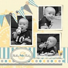I like this Scrapbook Page. This design could be changed for a girly page. Baby Boy Scrapbook, Scrapbook Bebe, Baby Scrapbook Pages, Scrapbook Designs, Scrapbook Sketches, Scrapbook Page Layouts, Scrapbook Albums, Scrapbook Supplies, Scrapbook Cards