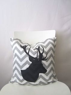 18 inch throw pillow cover, Deer antler Stag silhouette, chevron, gray and white. Zigzag pattern, modern print. For indoor use.
