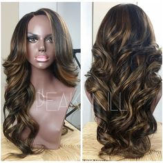 """(SOLD) Client ordered the styled full wig with lace closure service as well as the highlights coloring service and provided @envoguehair malaysian straight hair(24"""", 24"""", 20"""", 18"""") and a matching lace closure. Unit can be worn as a middle or side part. To place your own custom wig order and for pricing details, visit www.peak-mill.com Shipping is worldwide"""
