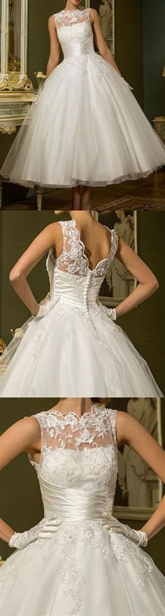 Short and Tea Length Wedding Dresses : Tulle Jewel Bridal Gown With Beading Appliques Tea Length Wedding Dress, Tea Length Dresses, Dream Wedding Dresses, Bridal Dresses, Wedding Gowns, Tulle Wedding, Homecoming Dresses, Wedding Reception, Wedding Attire