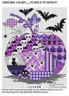 Fall Cross Stitch, Geek Cross Stitch, Free Cross Stitch Charts, Cross Stitch Freebies, Cross Stitch Designs, Cross Stitch Patterns, Halloween Embroidery, Halloween Cross Stitches, Cross Stitching