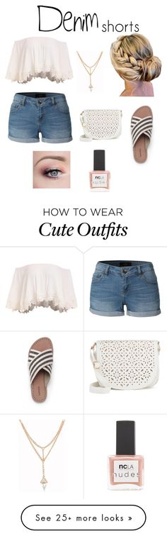 """""""Cute summer outfit"""" by forallpreps-byautumn on Polyvore featuring LE3NO, Lands' End, Under One Sky, ncLA, jeanshorts, denimshorts and cutoffs"""
