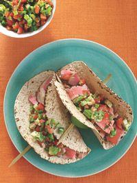 Ahi Tuna lightly seared for a simply fresh, tender and creamy taco!