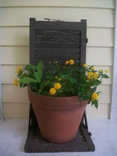 Antique wooden shutter shelf with old paint by Trinketicity, $40.00 Old Shutters, Wooden Shutters, Shutter Shelf, Repurposed, Planter Pots, Shelves, Antiques, Diy, Painting