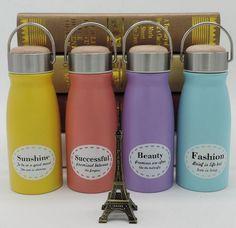 300ML Portable Wood Cap Thermos Flask Fashion Coffee Milk Thermo Mug