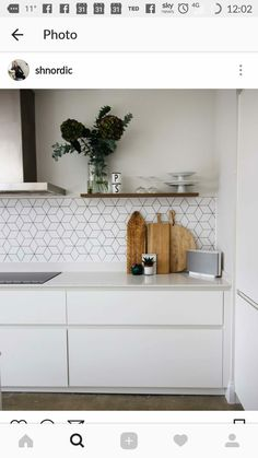Kitchen tile boards white kitchen wooden chopping boards open shelving and cube tiles kitchen tile effect . Wooden Kitchen, White Kitchen, Dream Kitchen, Interior, Craftsman Kitchen, Concrete Kitchen Floor, Minimalist Kitchen, Minimalist Kitchen Design, Kitchen Design