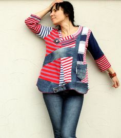 Crazy denim and polo recycled shirt blouse by jamfashion on Etsy, $88.00