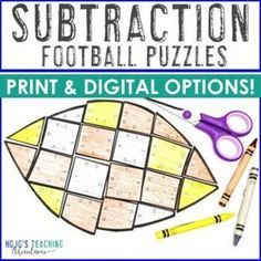 SUBTRACTION Football Activities, Math Puzzles, Games, or Decor | 1st, 2nd, 3rd grade, Activities, Basic Operations, Google Apps, Homeschool, Math, Math Centers, Mental Math Math Math, Maths Puzzles, Fun Math, Math Activities, Sports Theme Classroom, 2nd Grade Classroom, Reading Recovery, Halloween Math, 21st Century Skills