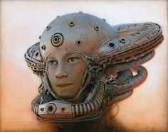 "Peter Gric Page Liked · 52 mins · Edited ·     ""Little Symbiont"", 2015 Acrylic on fiberboard, 32 x 40 cm / 12.6"" x 15.75"" This was a commissioned ""android-portrait"" of the daughter of one of my collectors."