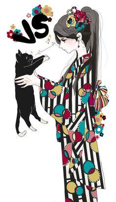 Above the clouds Anime Kimono, Anime Manga, Anime Art, Illustration Art Nouveau, Character Illustration, Character Drawing, Character Design, Grafiti, L5r