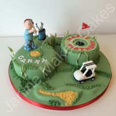 Another golf themed cake based on the golf cake i did. This time for a birthday! Golf Themed Cakes, Golf Birthday Cakes, Themed Cupcakes, 50th Birthday Party, Golf Cakes, Chocolate Sponge Cake, Tasty Chocolate Cake, Genoise Cake, Golf Party Decorations