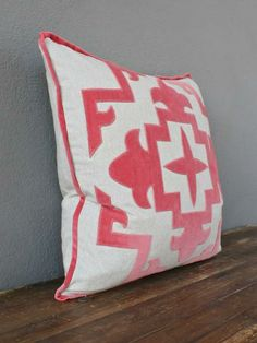 pink velvet applique pillow