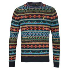 Mens Mixed Lyle & Scott Allover Fairisle Long Sleeve Crew Neck Sweater... via Polyvore featuring men's fashion and men's clothing