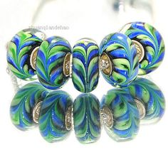 one blue green fern glass European charm bead - feather lampwork big hole ferny