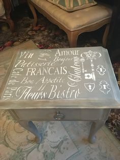 Close up of stencil French linen Annie Sloan chalk paint. Old white stencil