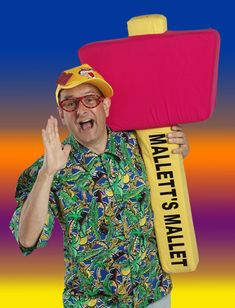 Wack a Day featuring Timmy Mallet. He hosted Mallets Mallet and whacked children across the head if they got the answer wrong and stuck a silly plaster on them. 1980s Childhood, My Childhood Memories, Job Ads, Kids Tv, Kids Shows, My Memory, My Children, Toy Cupboard, 80s Stuff