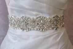 """Crystal Rhinestone & Pearl Bridal Sash, Wedding Belt, Ivory Crystal Bridal Sash, 24"""" of Rhinestones - AMELIE by TheRedMagnolia on Etsy https://www.etsy.com/listing/126107917/crystal-rhinestone-pearl-bridal-sash"""