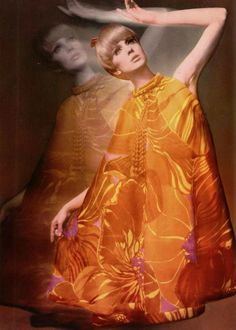 Jeanne Lanvin 1966 the tent dress yellow red brown floral print designer couture mod photo print ad model magazine