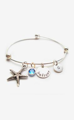 Silver & Swarovski Crystal 'Believe' Initial Bracelet