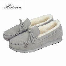 Zapatos Casuales de Cuero de Lujo de las mujeres Flock Zapatos de Invierno de Las Señoras Zapato de Ballet Mujer Mocasines de Conducción Pisos Madre Calzado Femenino(China)