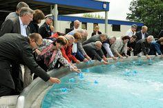 Test des neuen Strömungskanals im Willersinn-Freibad Ludwigshafen
