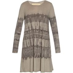 Raquel Allegra Long-sleeved tie-dye dress ($185) ❤ liked on Polyvore featuring dresses, grey print, tie-dye dress, gray dress, print dress, long sleeve loose dress and cotton jersey