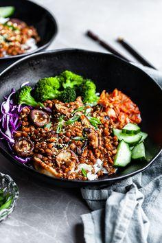 Quick Vegan Meals, Vegan Dinners, Vegan Recipes Easy, Veggie Recipes, Asian Recipes, Vegetarian Recipes, Cooking Recipes, Vegan Lentil Recipes, Quick Vegetarian Dinner