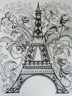 Eiffel Tower Zentangle by Cynthia Brown, Marker & pencil shading / cre8tiveart on Etsy