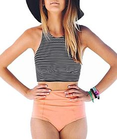 The perfect Lashapear Women's Black White Stripe High Waist 2 Piece Bathing Suits Bikini Swimsuit Women Swimsuits. [$18.99] thetophitsseller from top store