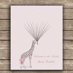 BABY SHOWER cumpleaños cartel jirafa alternativa de libro de visitas es una manera divertida y única para capturar los recuerdos de todos aquellos