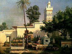 Peinture d'Algérie - Peintre Français, Léon Geille de Saint Leger, (1864-1937), Huile dur toile 1880, Titre : Scène orientaliste