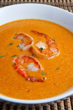 Shrimp Bisque-looks difficult, but will try, I love making soup and love seafood! Seafood Dishes, Seafood Recipes, Soup Recipes, Great Recipes, Cooking Recipes, Favorite Recipes, Think Food, I Love Food, Food For Thought