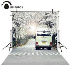 Allenjoy 5ftx7ft background Photo Studio Photography road car Crosswalk trees flower married children Backdrop custom size