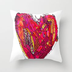 Funky Heart Throw Pillow by Ingrid Padilla  - $20.00