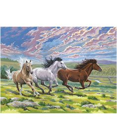 """Reeves 12""""x15-1/2"""" Paint By Number Kit-Galloping Horses"""