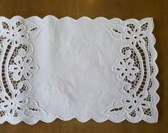 "Vintage Fine Linen Ornate Cutwork Tea Cloth Layover Sham 32 x 35"" - Google Search"