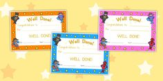 Superhero Obstacle Course Certificates