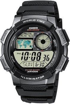 Casio Men's Digital Sport Watch: Manage your busy day with this digital sport watch that features a world time clock and a world time zone map, so you can keep track of time on the go. The flexible stainless-steel band offers good looks and durability. Sport Watches, Watches For Men, Popular Watches, Men's Watches, Analog Watches, Android Watch, Authentic Watches, Swiss Army Watches, Beautiful Watches
