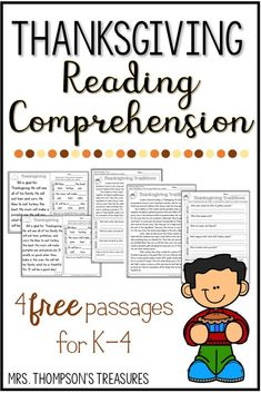 Free Thanksgiving Reading Comprehension Passages For K- - kostenlose erntedankfest-leseverständnispassagen für k- - - Chalkboard thanksgiving art, Wallpaper thanksgiving art, Placemats thanksgiving art Thanksgiving Worksheets, Thanksgiving Writing, Thanksgiving Classroom Activities, Holiday Classrooms, Canadian Thanksgiving, Holiday Activities, Reading Comprehension Activities, Reading Passages, Comprehension Questions