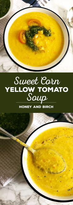 This sweet corn yellow tomato soup is a taste of pure summer and straight out of Heather Christo's book Pure Delicious. Top it with a dash of cilantro sauce and you're day will be made. Vegan AND allergen free! | honeyandbirch.com