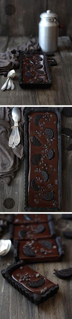 Tarta fácil de chocolate y galletas oreo